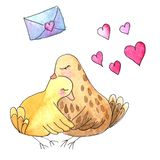 Nakreślenia brązu ptaki w uścisku z sercami i listem ilustracja wektor