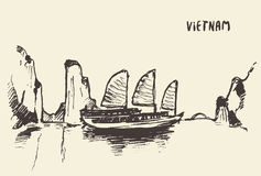 Nakreślenia Halong zatoki Wietnam wektoru ilustracja ilustracji