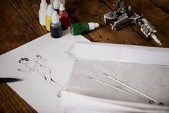 Nakreślenia i tatuażu narzędzia obrazy stock