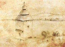 Nakreślenia kaplnka w naturze Architektoniczny ołówkowy nakreślenie ilustracja wektor