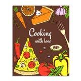 Nakreślenia kucharstwa karta ilustracja wektor