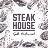Nakreślenia mięsa tło Grilla jedzenia menu Wołowina, wieprzowina, baranek kiełbasy i grill, i Rocznika bbq mięsna ręka rysujący w ilustracja wektor