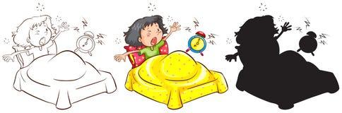 Nakreślenia opóźniony dziecko w różnych colours royalty ilustracja