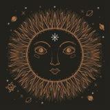 Nakreślenia słońca graficzna ilustracyjna Piękna twarz z tajemniczą i occult ręką rysujący symbole również zwrócić corel ilustrac ilustracja wektor