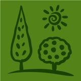 Nakreślenia słońce na zielonym tle i drzewo Obrazy Royalty Free