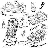 Nakreślenia sania ikony liniowy pojęcie Sanie wektoru kreskowy znak, symbol royalty ilustracja