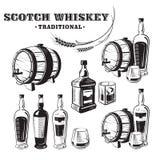 Nakreślenia whisky butelka, szkło i baryłka ilustracja wektor