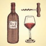 Nakreślenia wino ustawiający w rocznika stylu Zdjęcie Stock
