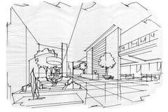 Nakreślenia wnętrza perspektywiczny lobby, czarny i biały wewnętrzny projekt Obrazy Stock