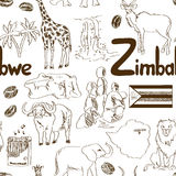 Nakreślenia Zimbabwe bezszwowy wzór Obraz Stock
