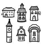 Nakreślenie śliczni kreskówka domy ilustracja wektor