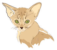 Nakreślenie śliczny kot z zielonymi oczami ilustracji