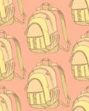 Nakreślenie śliczny szkolny plecak w rocznika stylu Fotografia Royalty Free