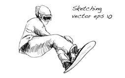 Nakreślenie śnieg deski mężczyzna jazda, zima sport, jazda na snowboardzie coll Zdjęcie Stock