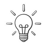 Nakreślenie żarówka w doodle sztuki stylu Obraz Royalty Free