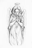 Nakreślenie anioł na białym tle royalty ilustracja