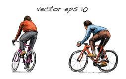 Nakreślenie cyklista jazda załatwiał przekładnia bicykl na ulicie, illustrat Zdjęcia Stock