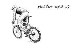 Nakreślenie cyklista jazda załatwiał przekładnia bicykl na ulicie, illustrat Fotografia Royalty Free