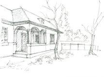 nakreślenie domowa wioska royalty ilustracja