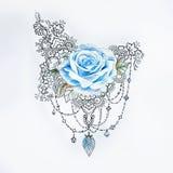Nakreślenie duża piękna czerwieni róża z białymi wzorami Zdjęcia Royalty Free