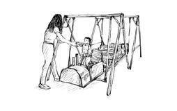 Nakreślenie dzieciaka boisko na terenie publicznym odizolowywającym, ilustracja Zdjęcie Royalty Free