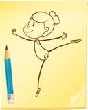 Nakreślenie dziewczyna taniec ilustracji