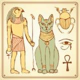 Nakreślenie Egipscy symbole w rocznika stylu ilustracja wektor