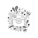 Nakreślenie fotografii kamera rysująca ręką Obrazy Stock