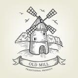 Nakreślenie gospodarstwo rolne z wiatraczkiem Wektorowa ilustracja robić w grafika stylu, odosobnionym na tle Obraz Royalty Free