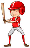 Nakreślenie gracz baseballa trzyma nietoperz Obraz Stock