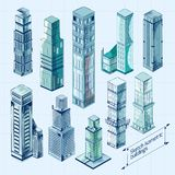 Nakreślenie Isometric budynki Barwiący Obrazy Stock