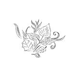 Nakreślenie, jesień, liście, projekt, wektorowa ilustracja w nakreślenie stylu Obrazy Royalty Free