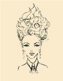 Nakreślenie kobieta z oryginalnym włosianym stylem Ilustracja Wektor