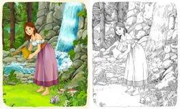 Nakreślenie kolorystyki strona z zapowiedzią ilustracja dla dzieci - artystyczny styl - Obraz Stock