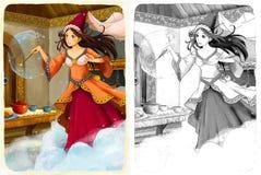 Nakreślenie kolorystyki strona z zapowiedzią ilustracja dla dzieci - artystyczny styl - Obrazy Royalty Free