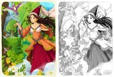 Nakreślenie kolorystyki strona z zapowiedzią ilustracja dla dzieci - artystyczny styl - Zdjęcia Stock