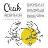Nakreślenie konturowy krab ilustracji