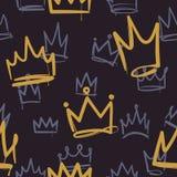 Nakreślenie korony wzór Bezszwowej druk tekstury dziewczyny princess koron luksusowej królewskiej korony słonecznej doodle ta ilustracja wektor