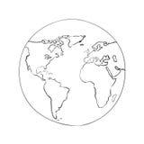 Nakreślenie kuli ziemskiej światowej mapy czerni wektoru ilustracja Zdjęcia Stock