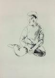 Nakreślenie młoda chłopiec ilustracja wektor