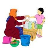 Nakreślenie młoda dziewczyna zakupu Jamu Indonezja Ziołowy, organicznie napój od starej damy sprzedawcy kolorowej wersi Tradycyjn Fotografia Stock