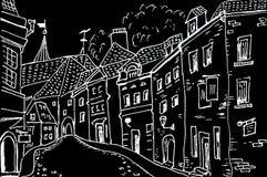 Nakreślenie miasto ćwiartki liniowa rysunek ilustracji