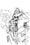 Nakreślenie miastowy krajobraz royalty ilustracja