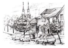 Nakreślenie miastowy krajobraz w Serbia Miasto ulica z intymnymi domami, kościół, samochodami i drzewami, Obraz Royalty Free