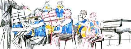 Nakreślenie miedziany mosiężny orkiestra zespołu instrument muzyczny ilustracji