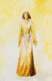 Nakreślenie mistyczna kobieta w pięknej ornamentacyjnej sukni inspirującej wieka średniego projektem z ornamentacyjnym wzorem na  ilustracja wektor