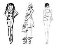 NAKREŚLENIE. mod dziewczyny Obrazy Royalty Free