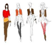 NAKREŚLENIE. mody dziewczyna. ilustracja wektor