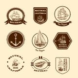 Nakreślenie nautyczni emblematy Obraz Stock