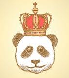 Nakreślenie panda w koronie, rocznika tło Zdjęcie Royalty Free
